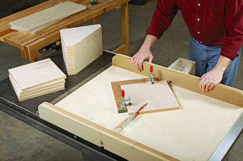 Angle-cutting the 16 braces to shape is quick and safe with a crosscut sled